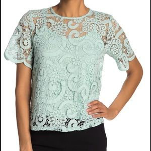 NWT Nanette Lepore Mint Turquoise Tie-Bow Lace Top